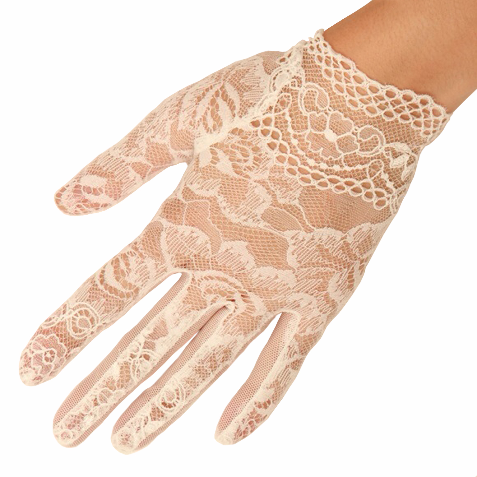 Cornelia James - Moira - White Short Lace Gloves
