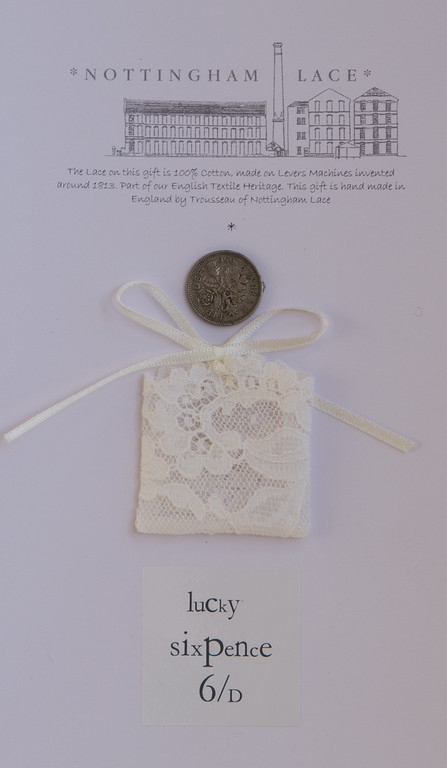 English Trousseau Lucky Wedding Sixpence and Bag