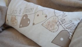 Dangly Hearts Personalised Wedding Cushion
