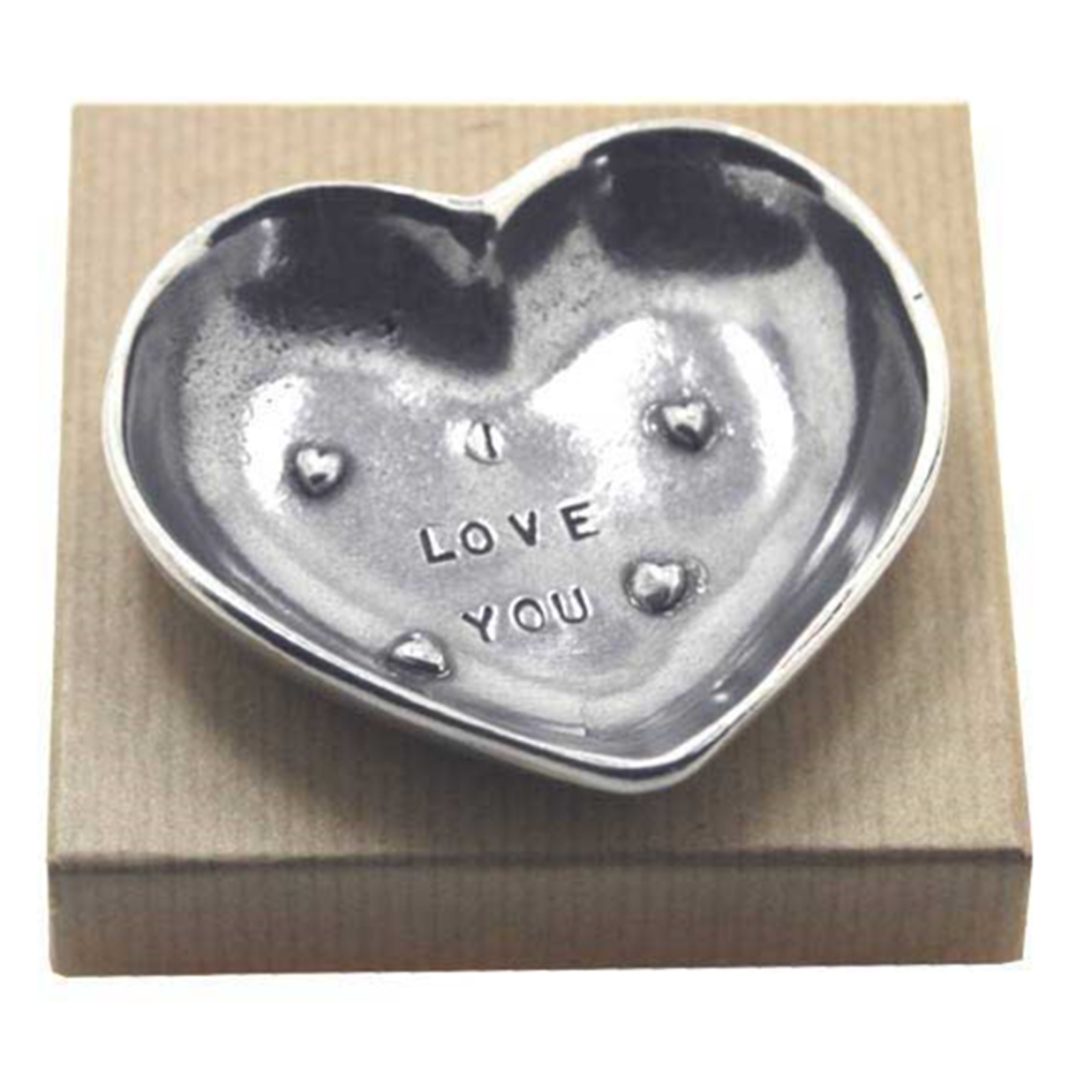 Heart Sentiment Trinket Dish (I Love You) by The English Pewter Company