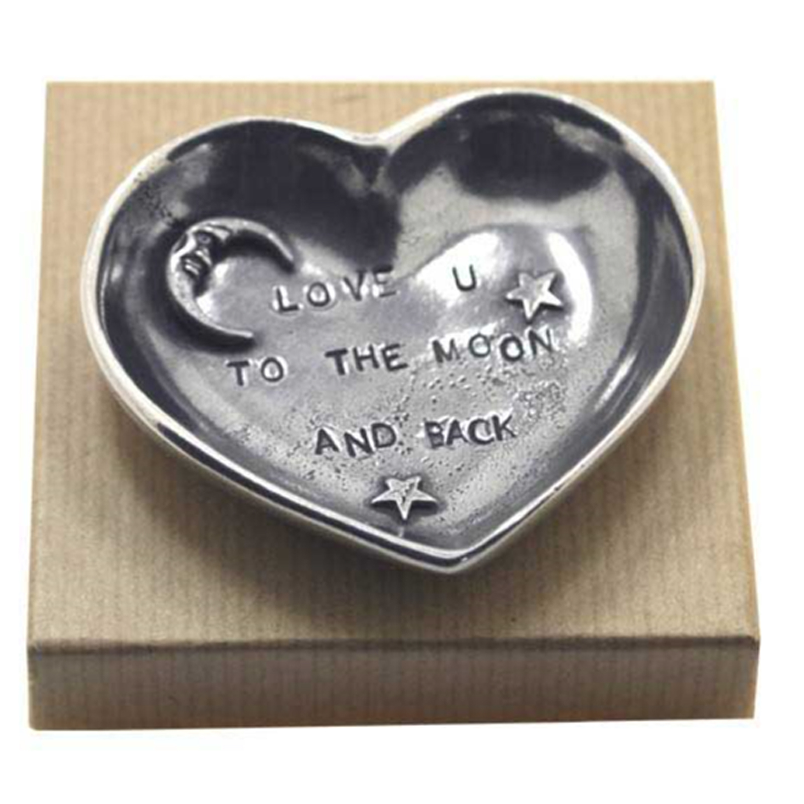 Pewter Heart Sentiment Trinket Dish (Love You To The Moon And Back) by The English Pewter Company