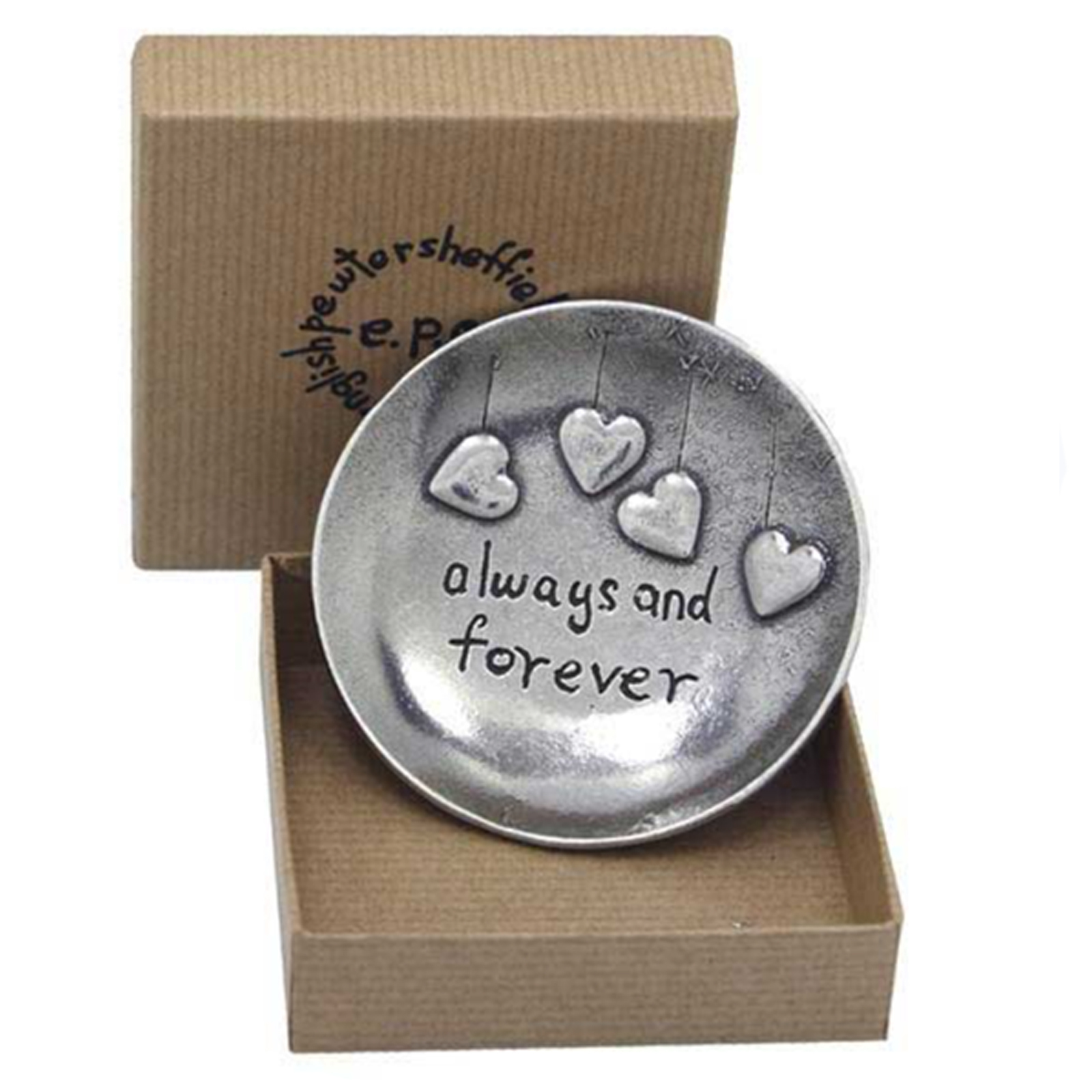 Round Keepsake Dish (Always and Forever) by The English Pewter Company