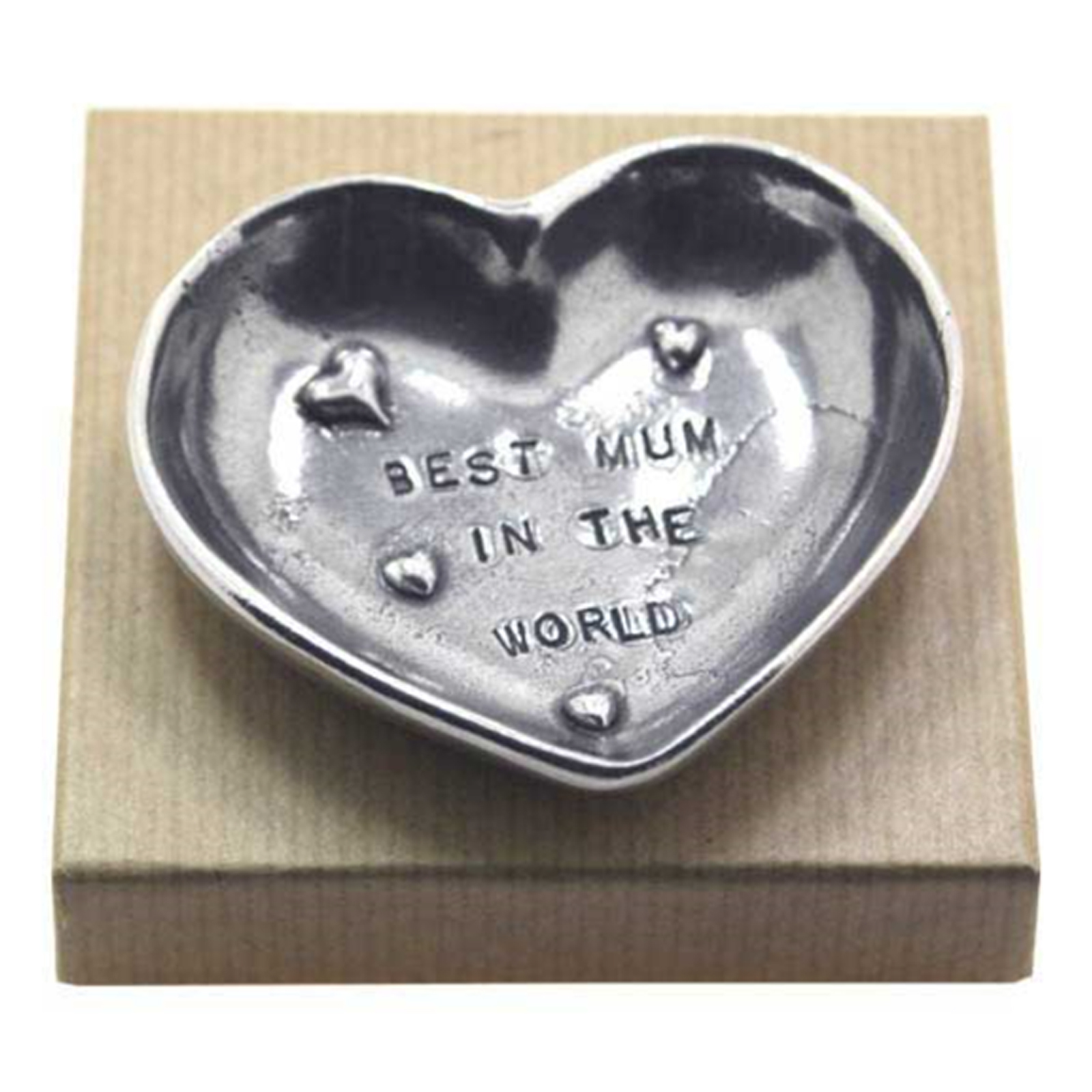 Pewter Heart Trinket Dish (Best Mum In The World) by The English Pewter Company