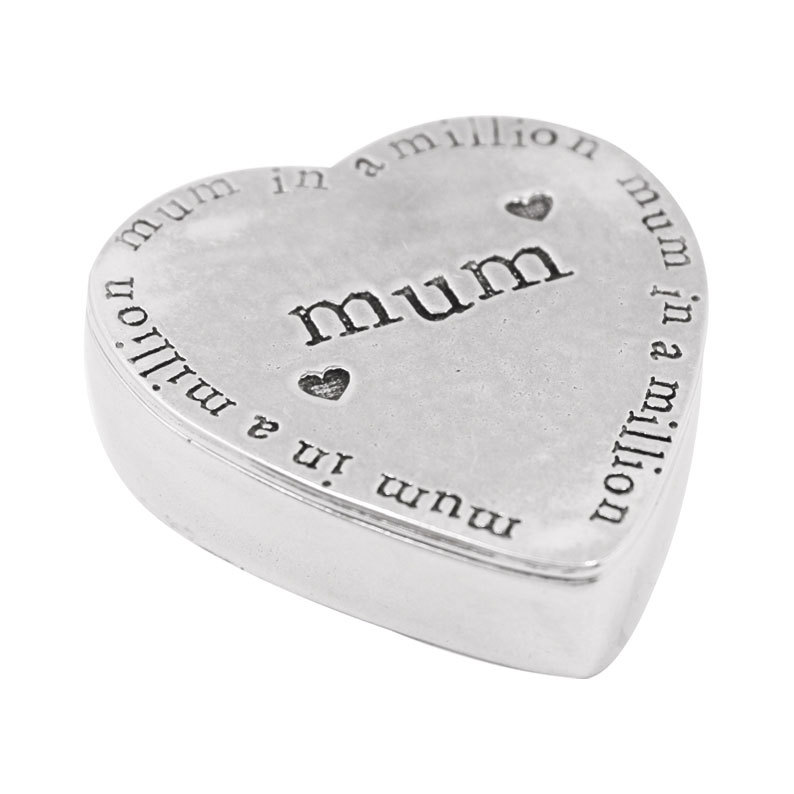 Pewter Heart Shaped Trinket Box - Mum in a Million by The English Pewter Company