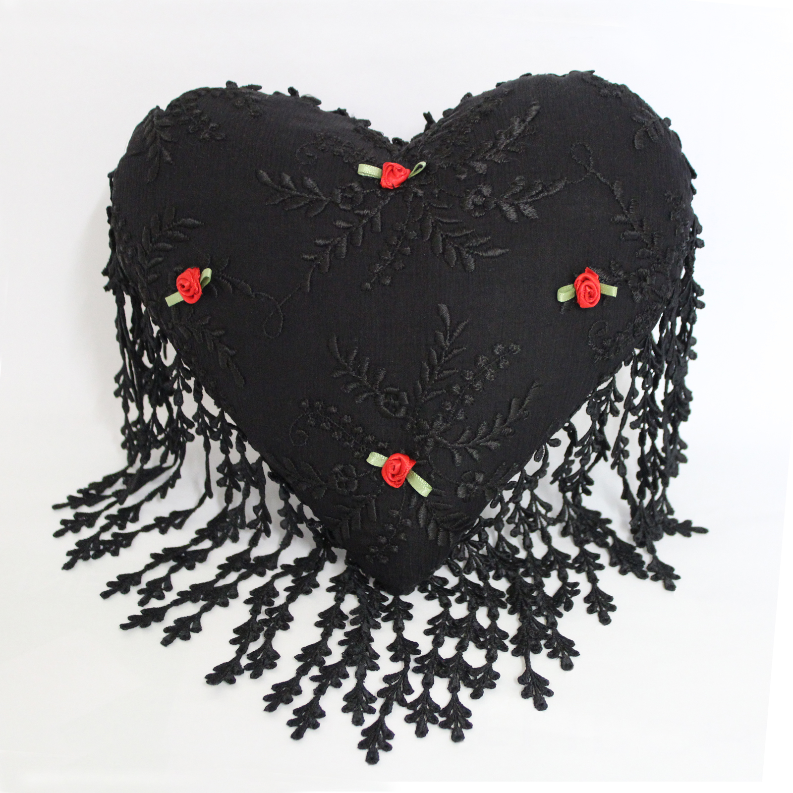 Black Silk and Nottingham Lace Heart Cushion with Rosebud Detail by Ruth Stevens