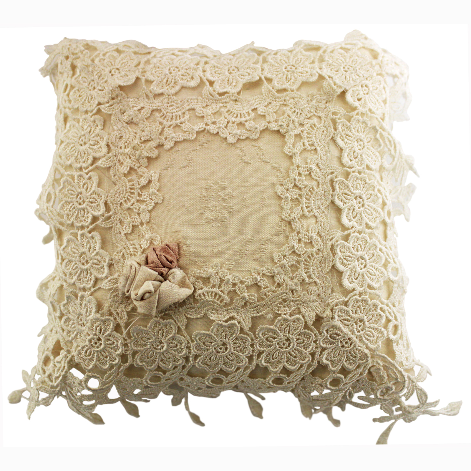 Cream Silk & Nottingham Lace Cushion by Ruth Stevens