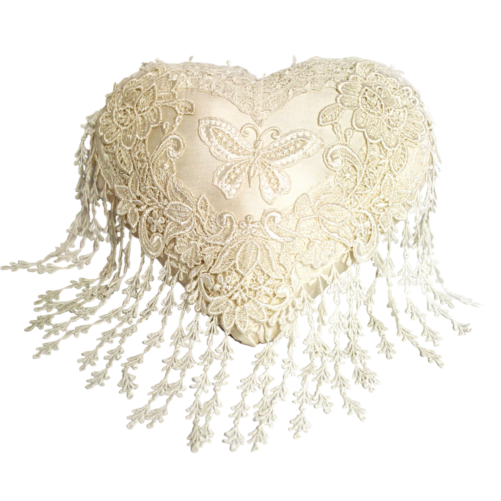 Cream Silk & Nottingham Lace Heart Shaped Cushion by Ruth Stevens