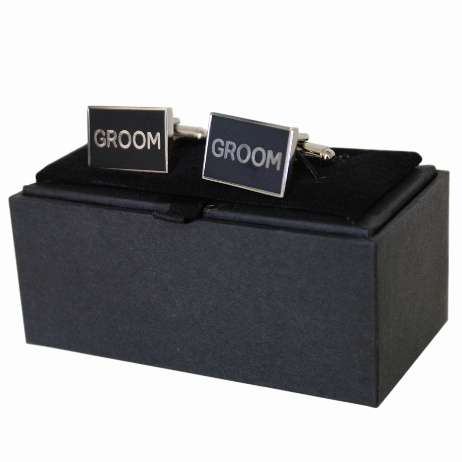Polished Pewter Rectangular Groom Design Cufflinks by The English Pewter Company