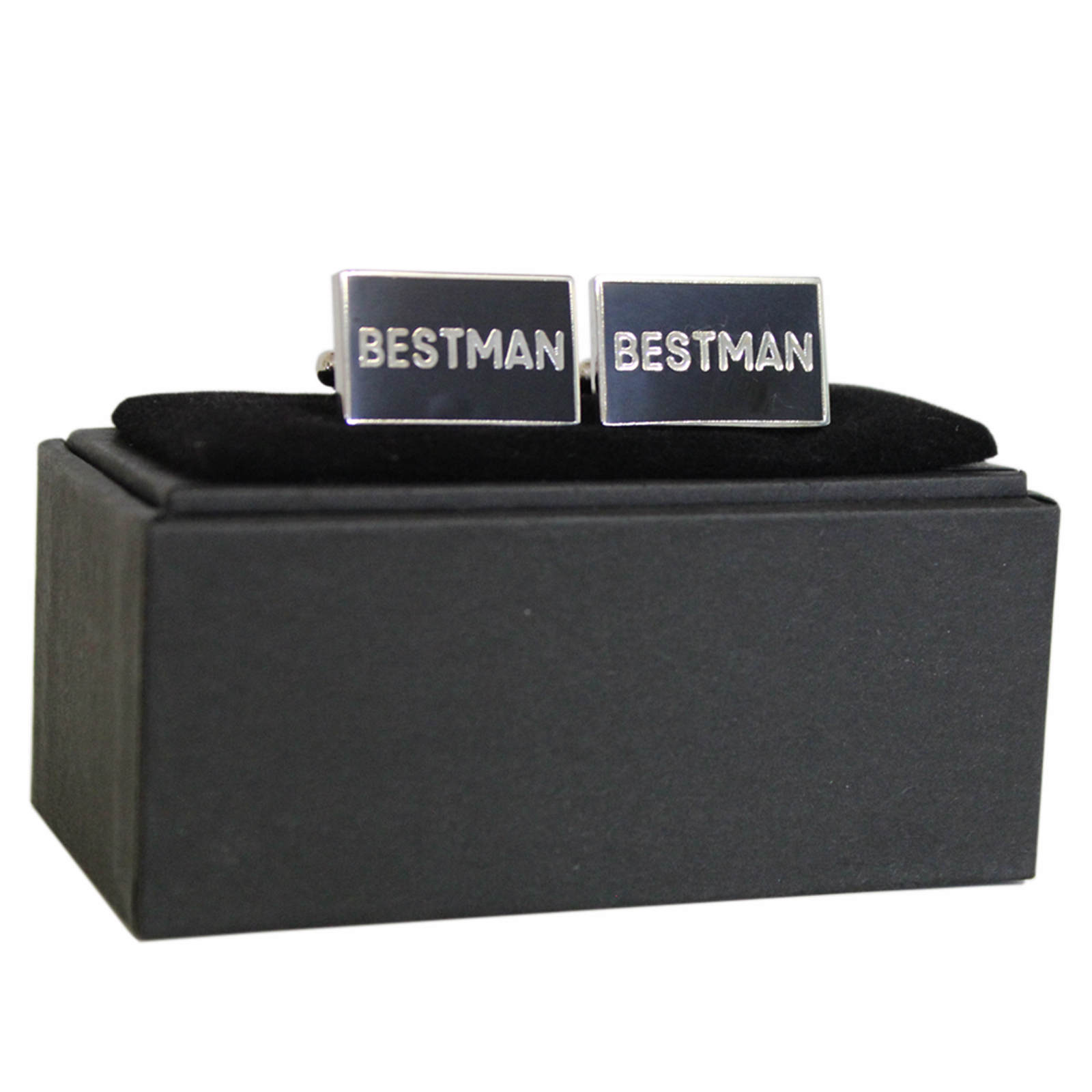 Polished Pewter Rectangular Best Man Design Cufflinks