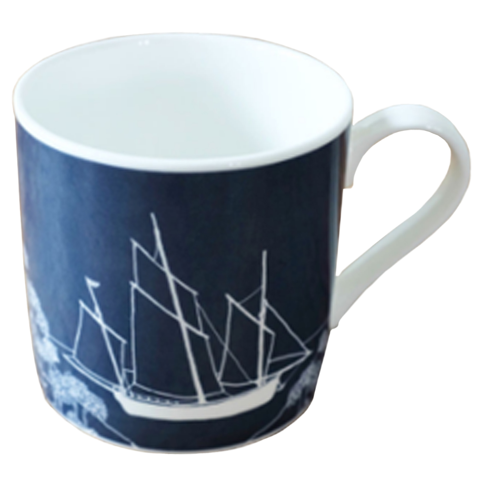 Fine Bone China Mug with Cornish Privateer Boat in Deep Blue - Seafarers Collection Limited Edition by Helen Round