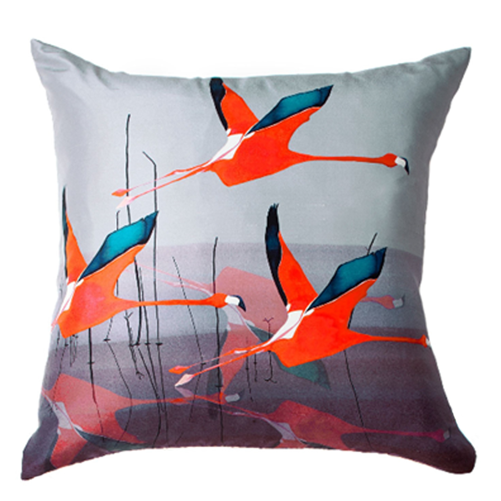 Breaking Dawn Square Silk Cushion in Orange