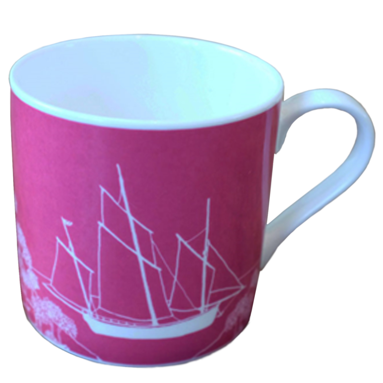Fine Bone China Mug with Cornish Privateer Boat Design in Raspberry - Limited Edition
