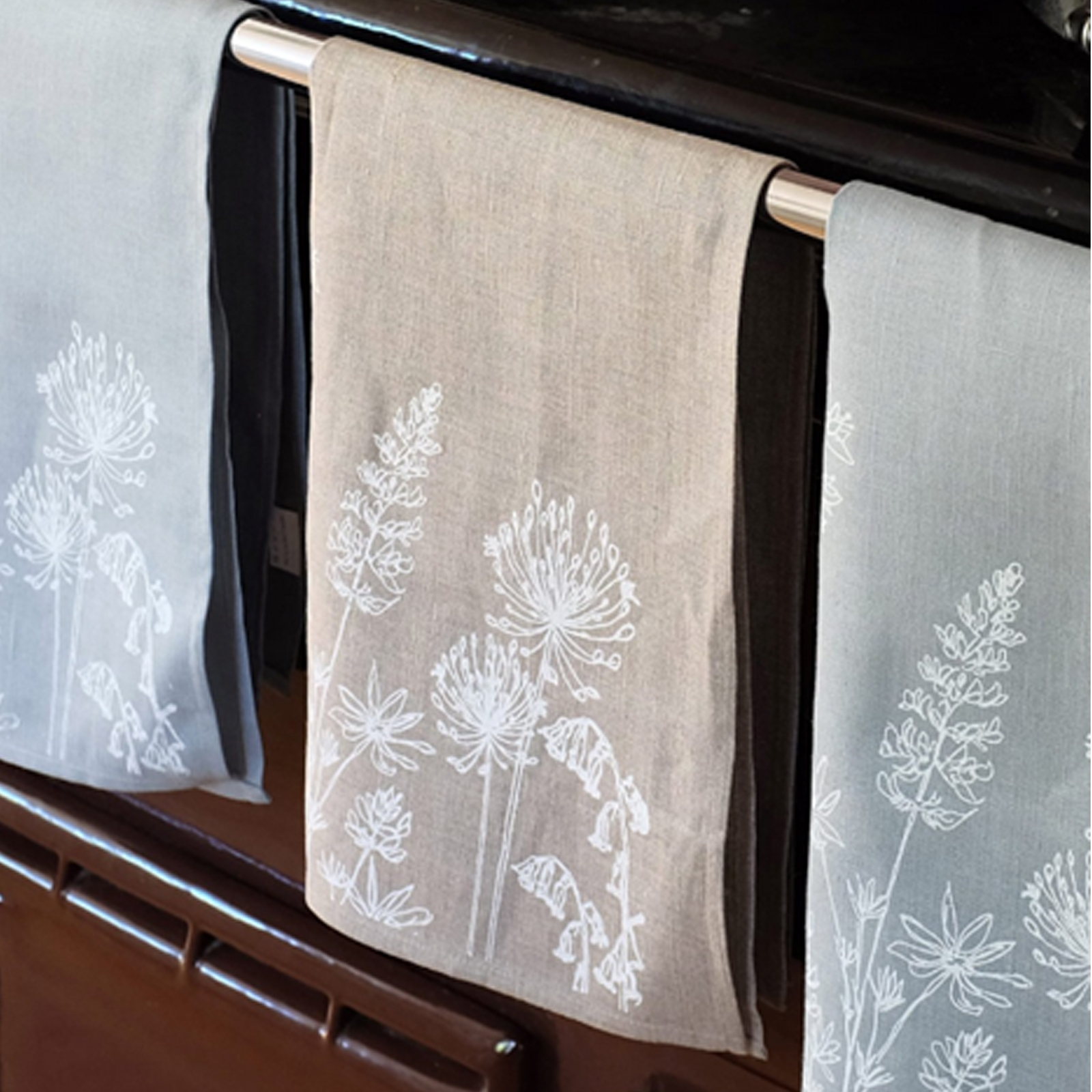 Hand Printed Linen Tea Towel by Helen Round - Country Garden Collection