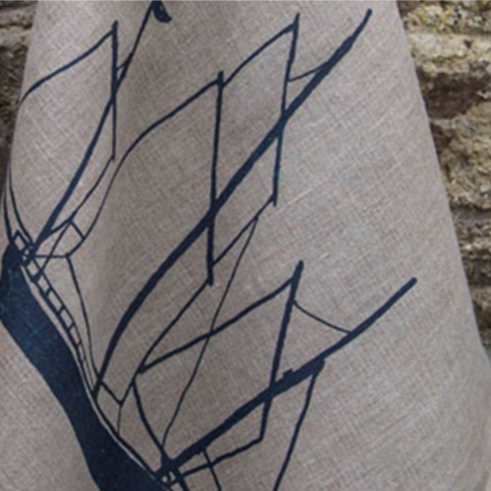 Hand Printed Linen Tea Towel - Seafarers Collection by Helen Round -