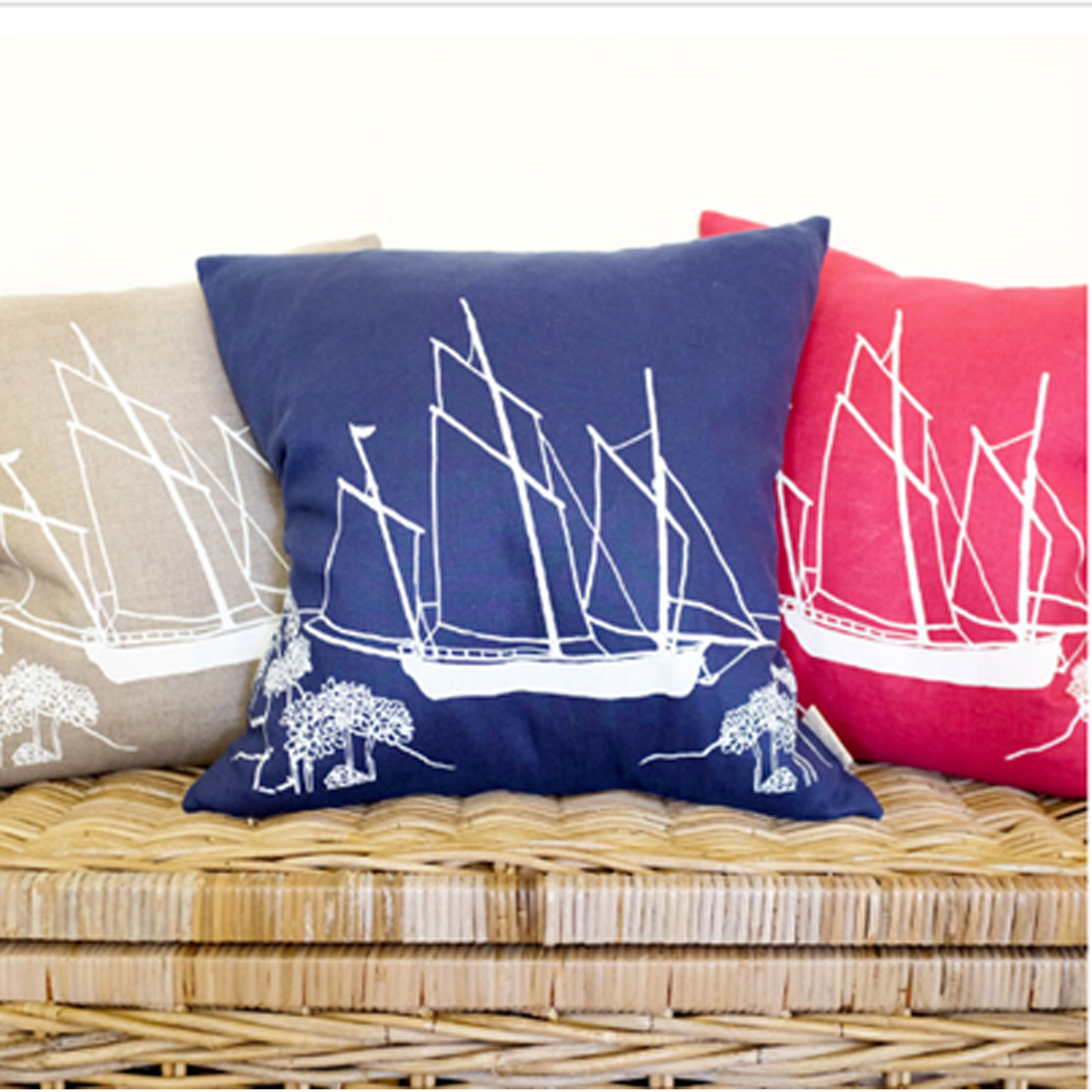 Cushion - Hand Printed Linen in Deep Blue - Seafarers Collection by Helen Round