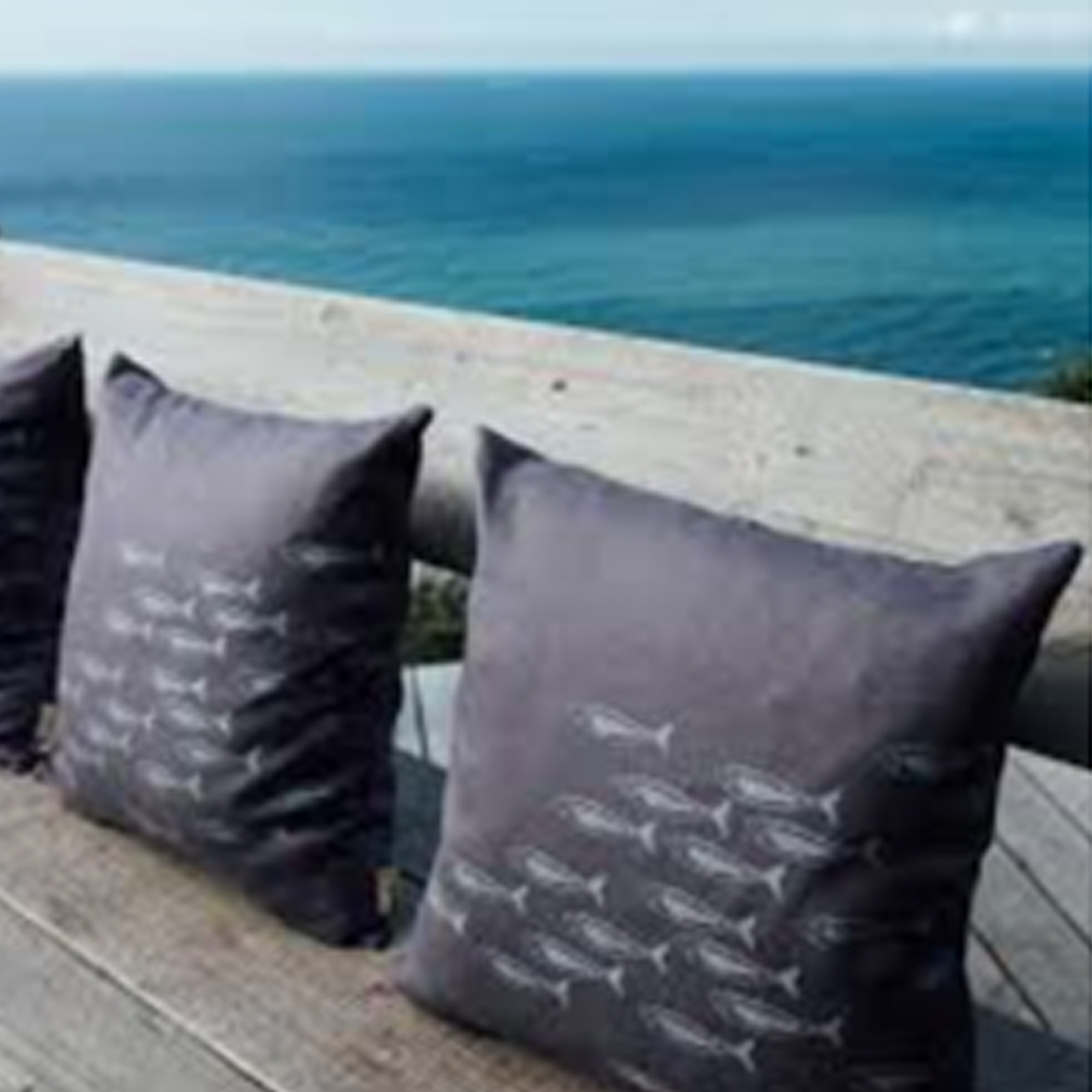 Hand Printed Linen Cushion by Helen Round - Quayside Collection