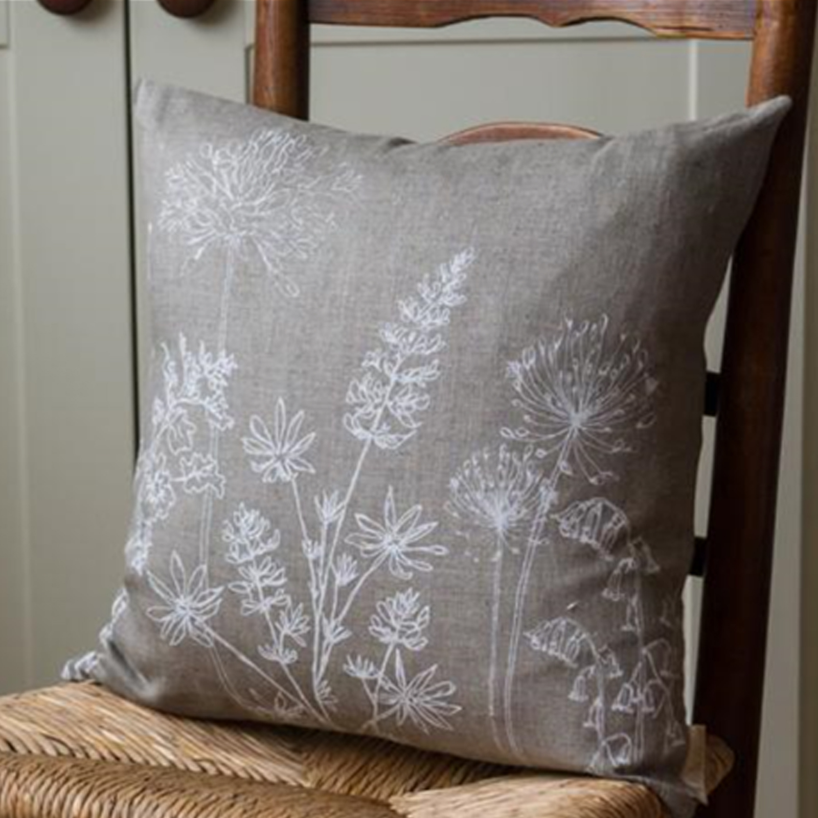 Cushion - Hand Printed Linen in Natural - Country Garden Collection by Helen Round