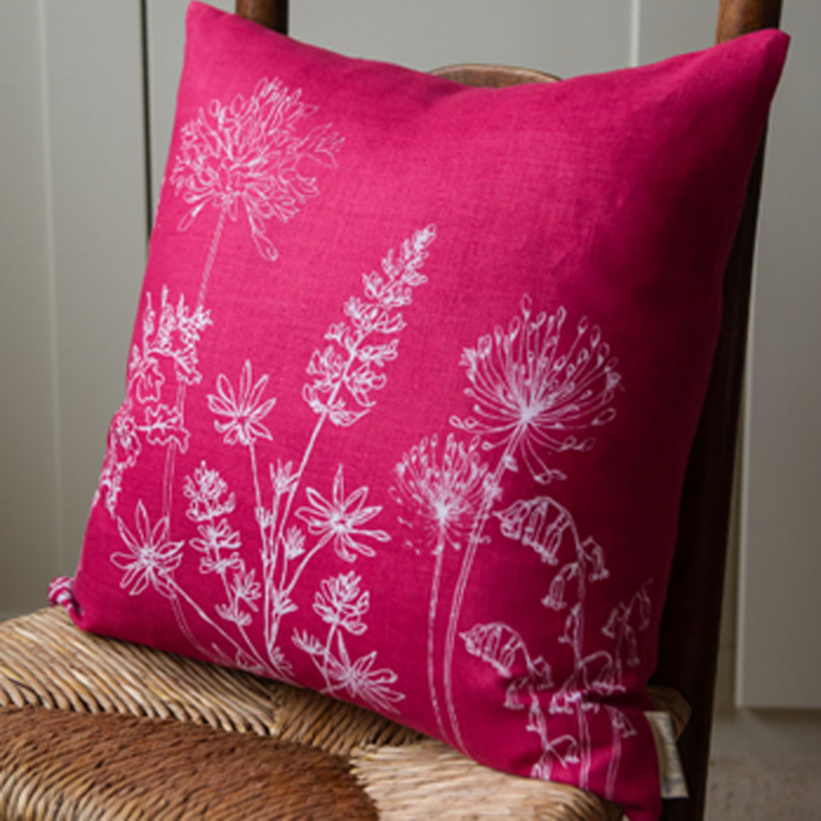 Cushion - Hand Printed Linen in Raspberry Pink - Country Garden Collection by Helen Round