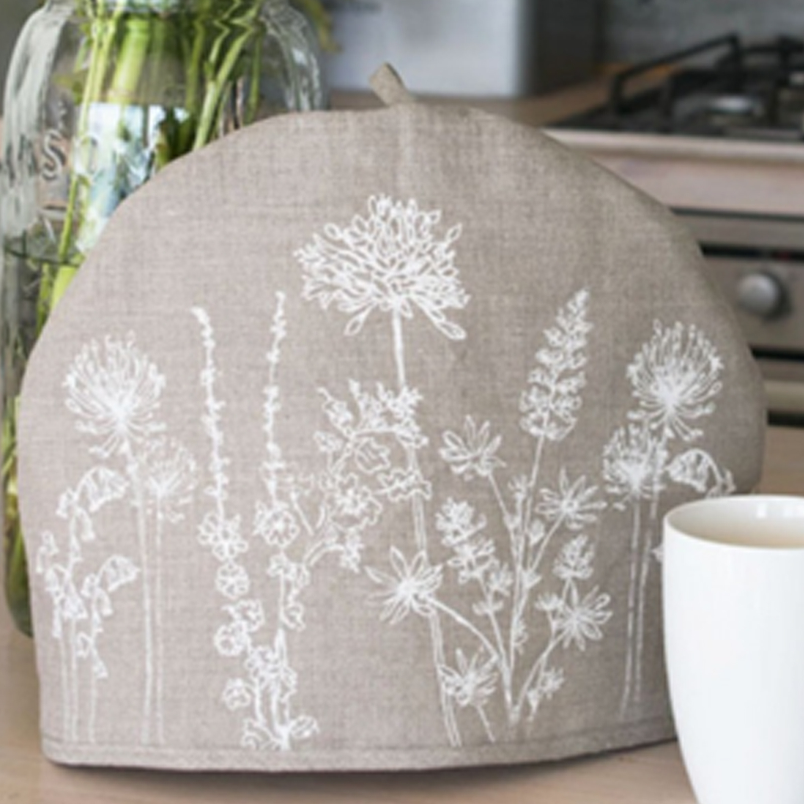 Tea Cosy - Hand Printed Linen in Natural - Country Garden Collection by Helen Round