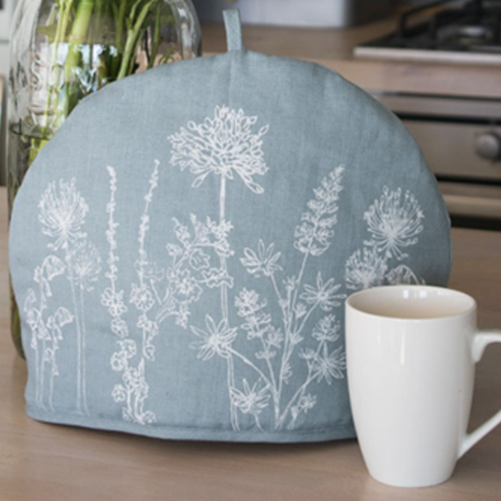 Tea Cosy - Hand Printed Linen in Hollyhock Blue - Country Garden Collection by Helen Round