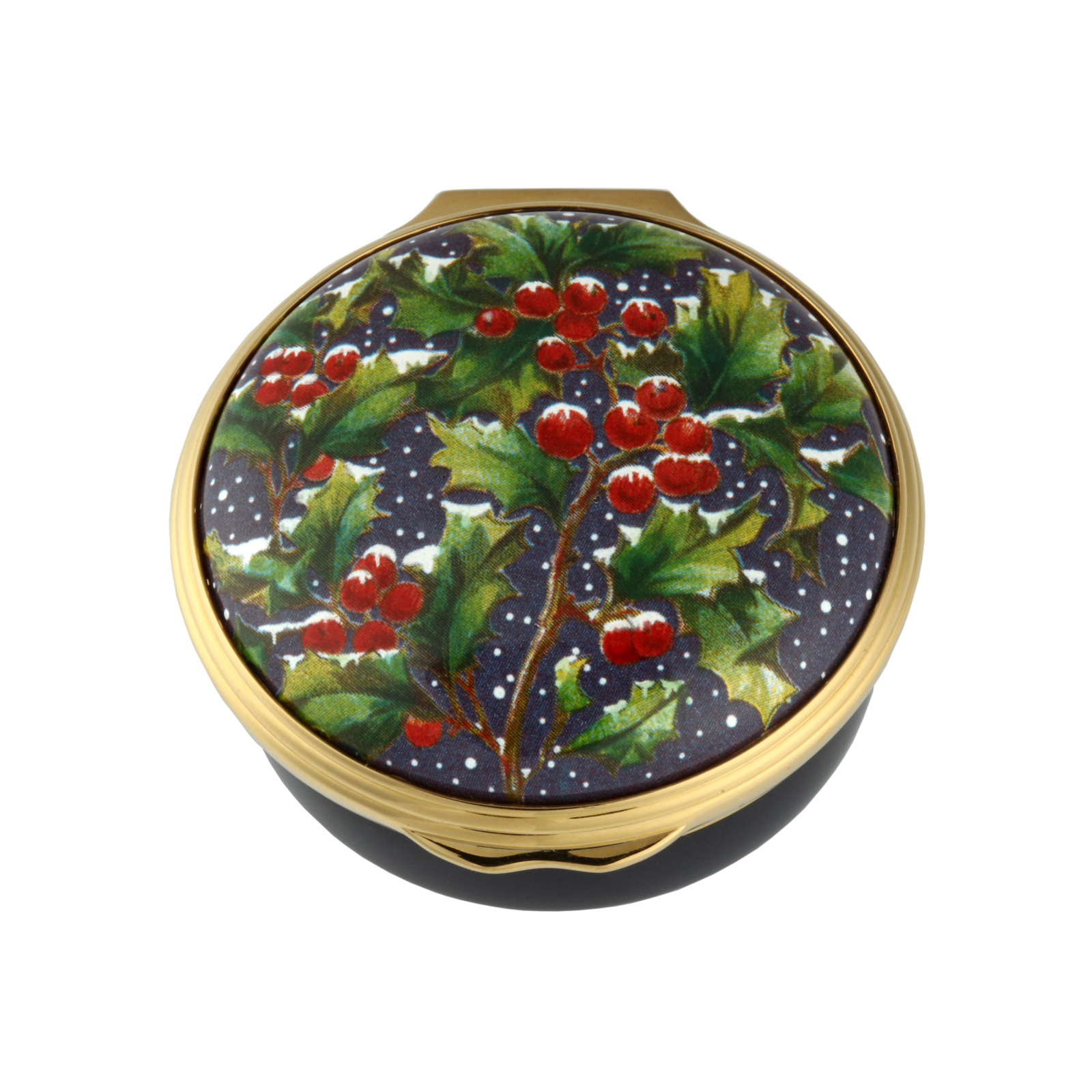 Holly In The Snow Christmas Enamel Box - Halcyon Days