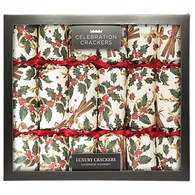 Luxury Handmade Christmas Crackers in Holly and Cinnamon , Pack of 6 by Celebration Crackers