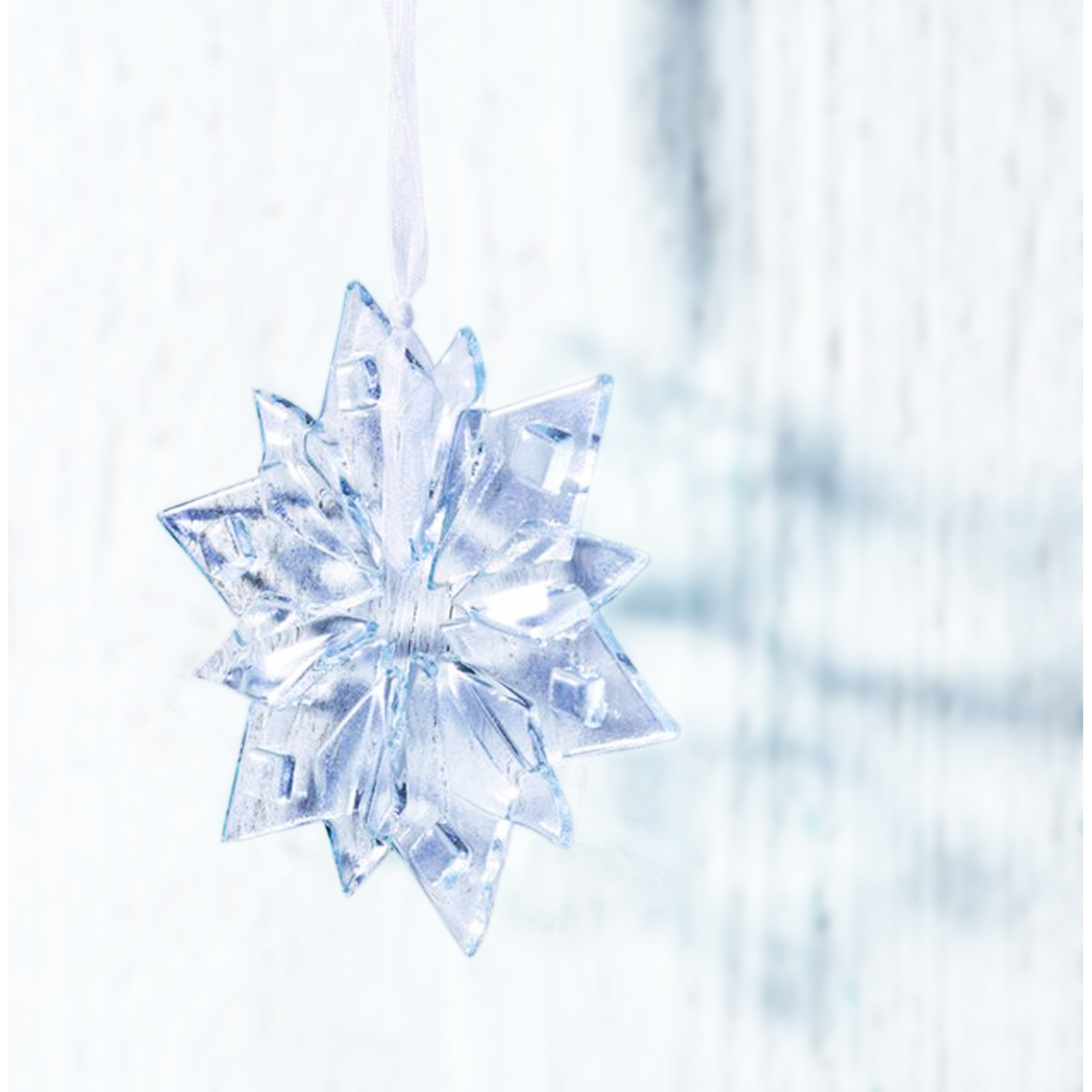 Clear Star Flake Christmas Decoration