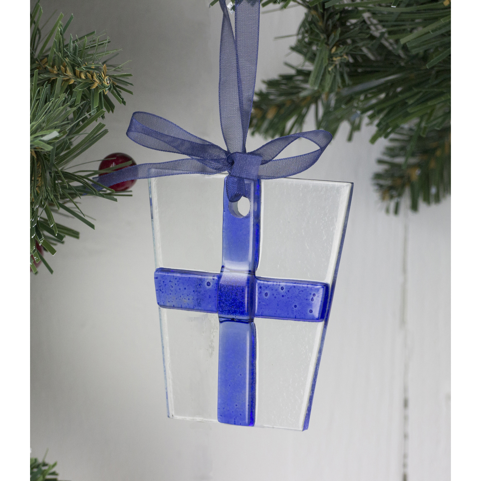 Cobalt Blue Glass Nordic Lights Gift Christmas Tree Decoration by Jo Downs