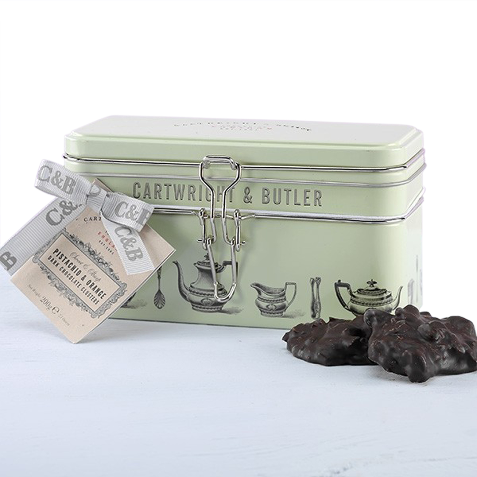Pistachio & Orange Dark Chocolate Clusters in a Tin by Cartwright & Butler