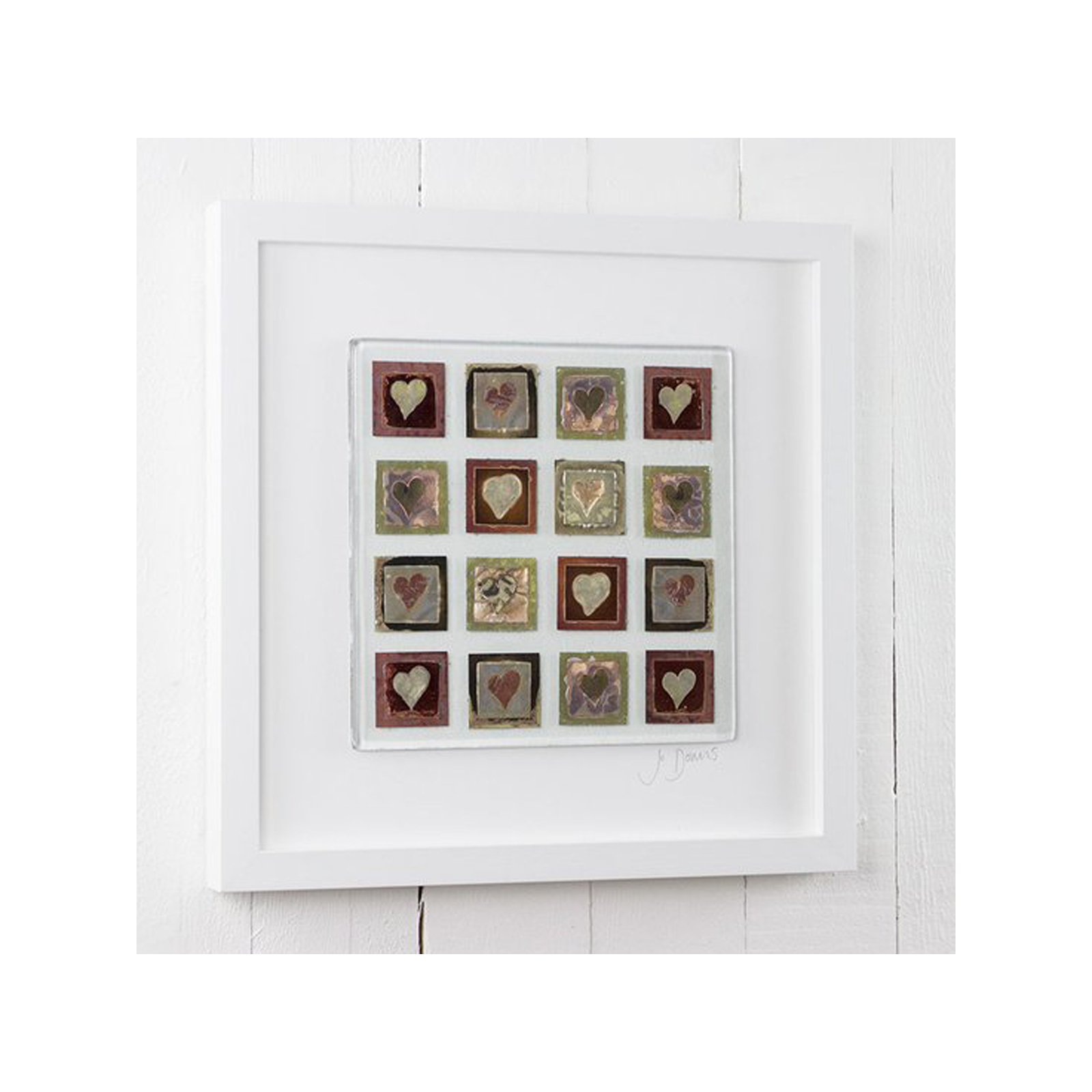 Morwenna Heart Large Framed Glass Art by Jo Downs