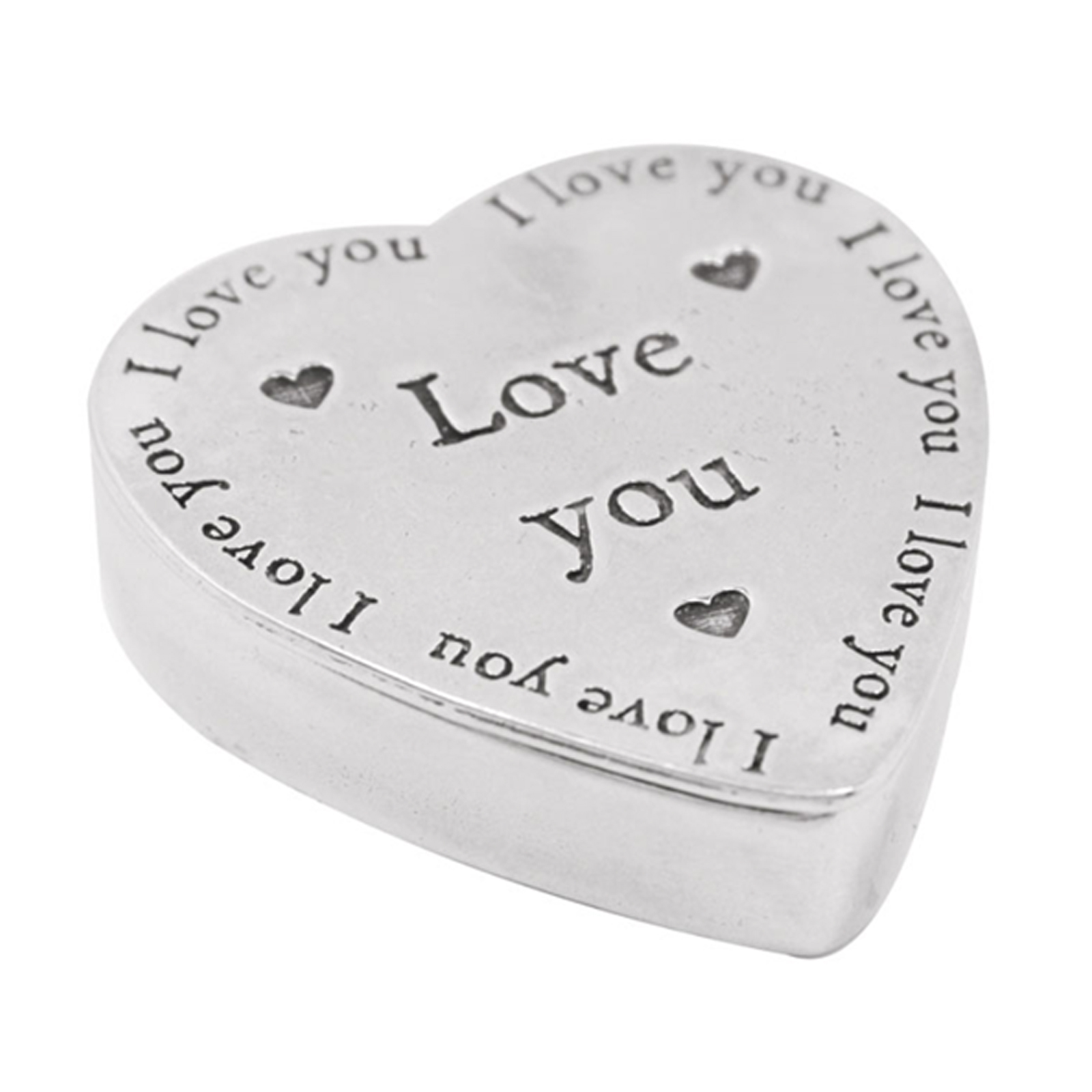 Pewter Heart Shaped Trinket Box - I Love You by The English Pewter Company