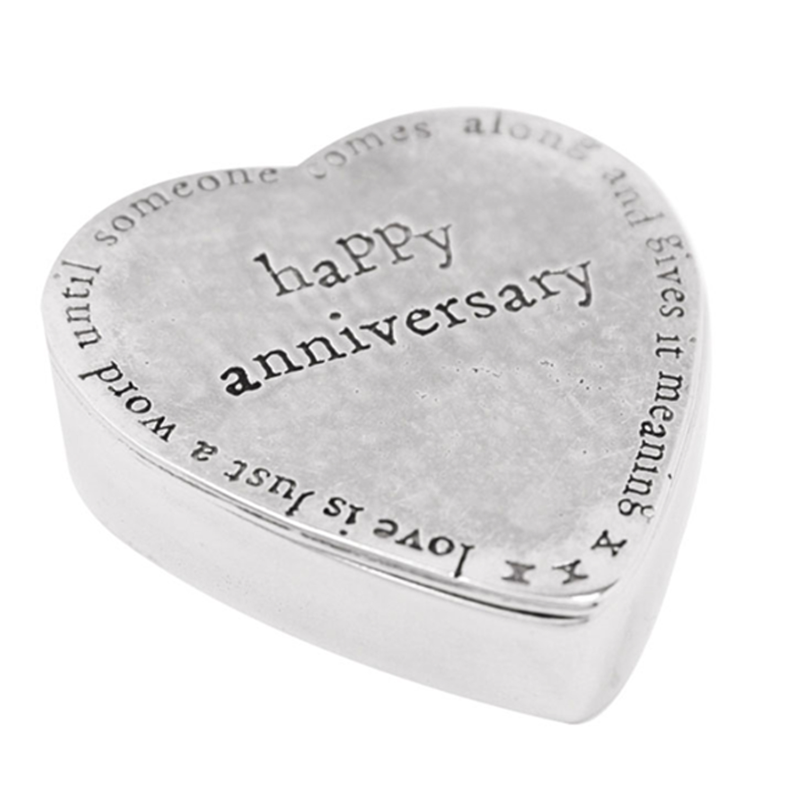 Pewter Heart Shaped Trinket Box - Happy Anniversary by The English Pewter Company