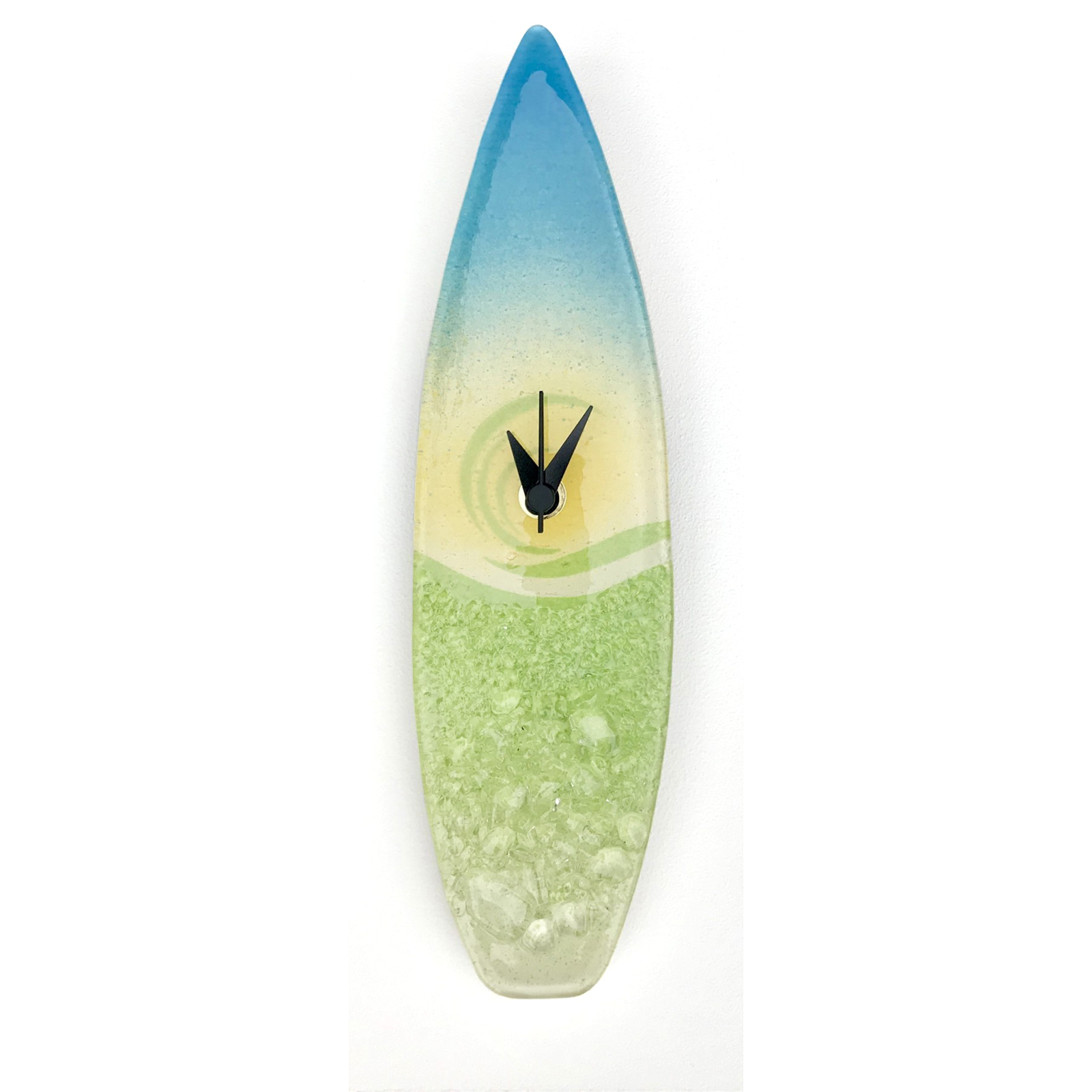 Surfboard Clock in Lime Green Fused Glass by Berserks Glass