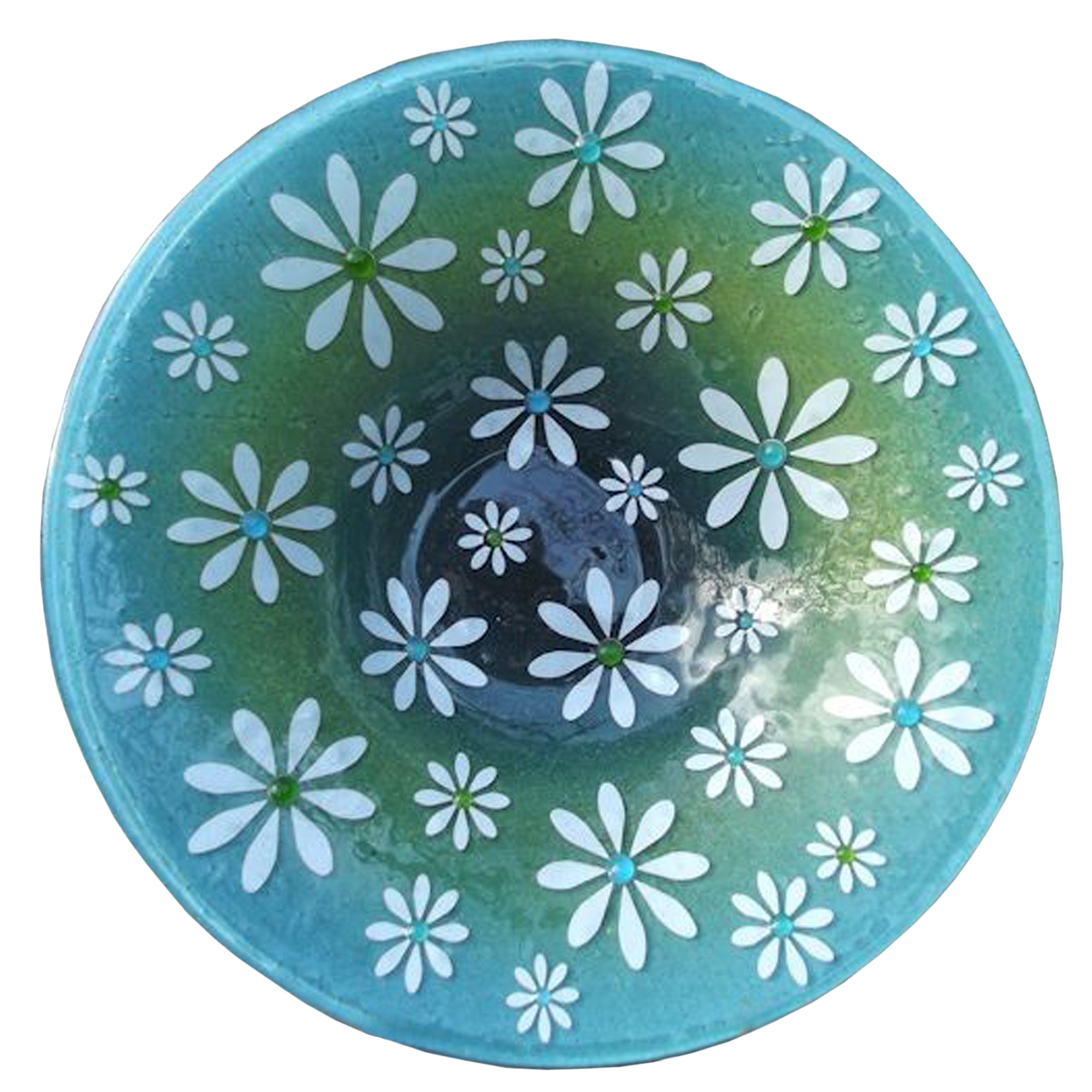 Daisy Meadow Fused Glass Bowl by Beserks Glass