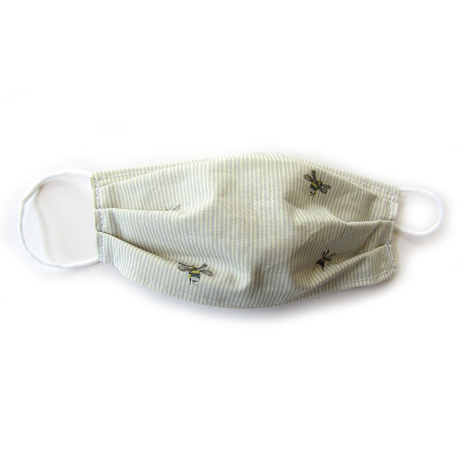 Reusable Face Mask - Cotton Bee & Grey Stripe