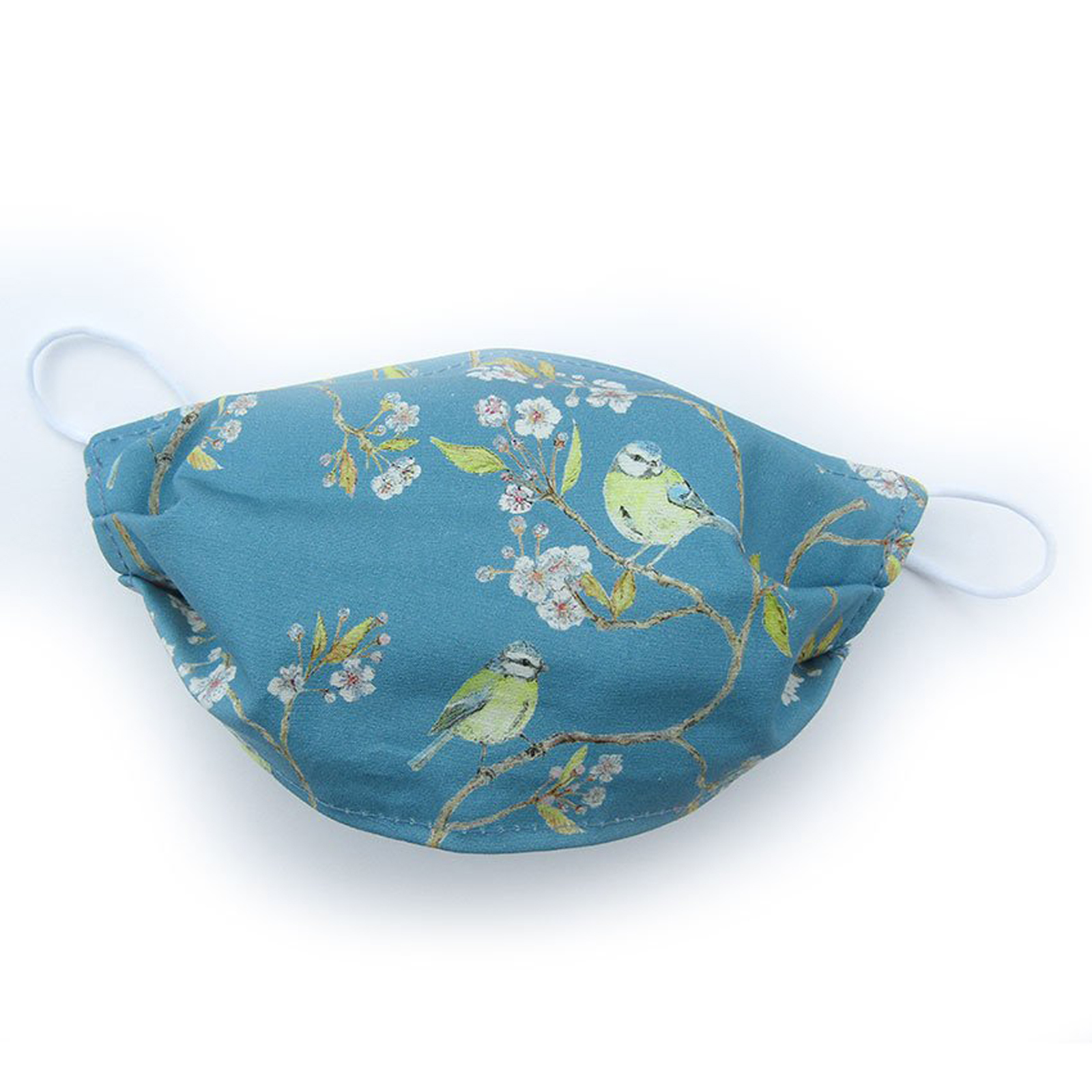 Reusable Face Mask - Blue Tit on Blue Cotton