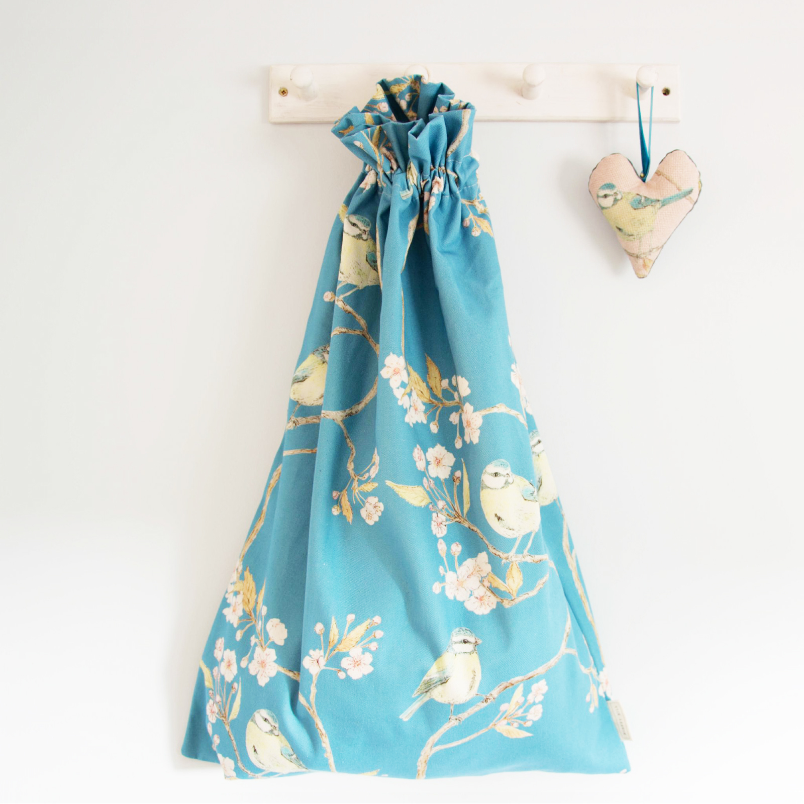 Cotton Laundry Bag Blue Tit on Blossom in Blue