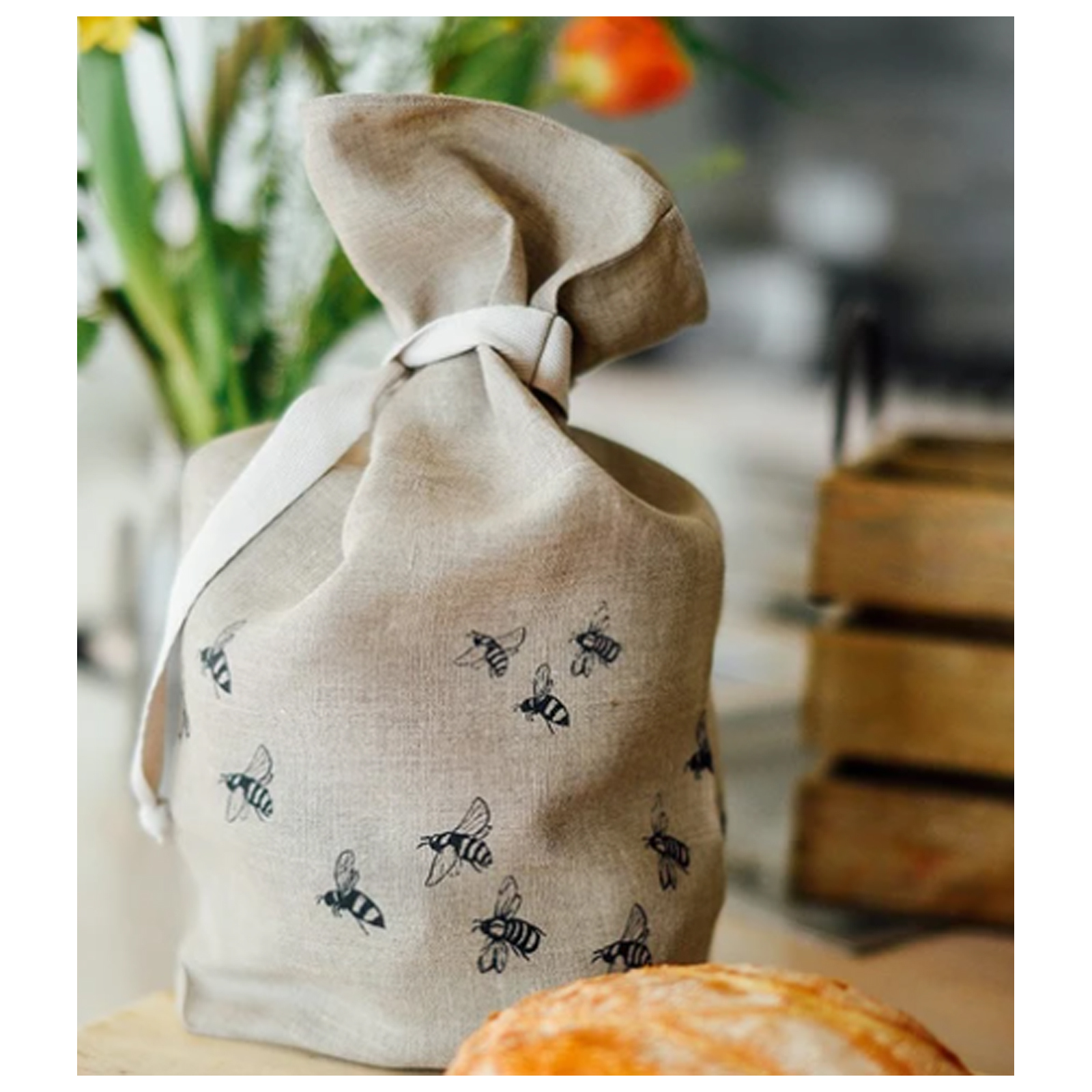 Linen Bread Bag - Bee Collection by Helen Round