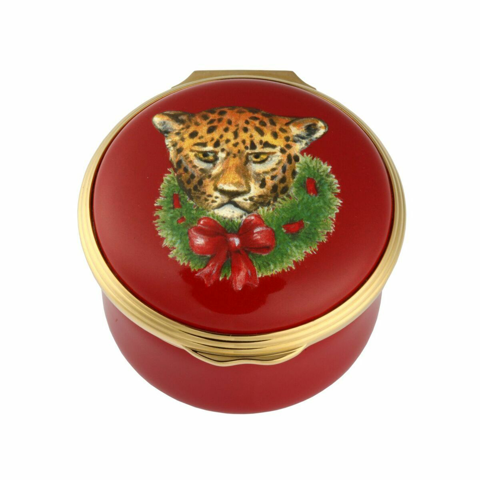 Festive Leopard Christmas Enamel Box by Halcyon Days