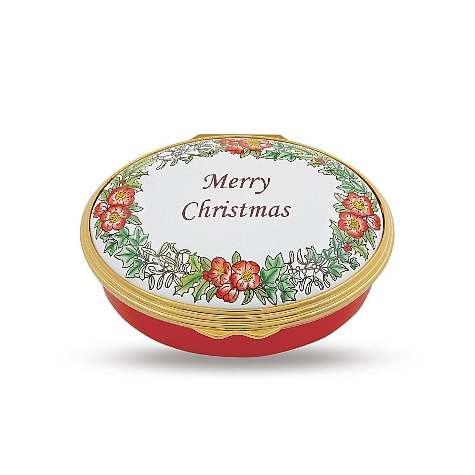 Merry Christmas Enamel Box by Halcyon Days