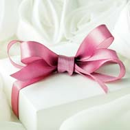Wedding present white box with pink satin ribbon bow