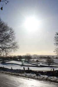 Derbyshire, Across the Fields in the Snow