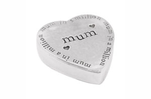 Mum in a Million Pewter Heart Shaped Trinket Box