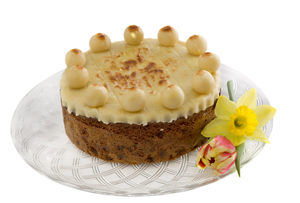 Simnel Cake on a White Plate