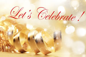 Let's Celebrate Text with Gold Ribbon