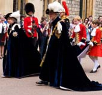 The Queen and Duke of Edinburgh in Order of the Garter robes