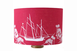 Hand Printed Linen Lampshade with Boat and Abstract Coastal Design