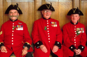 Group of Chelsea Pensioners in the scarlet uniform
