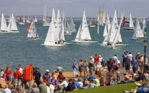 Sailing Race at Cowes Week with Spectators on the Shore