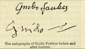 Guy Fawkes signature before and after being tortured